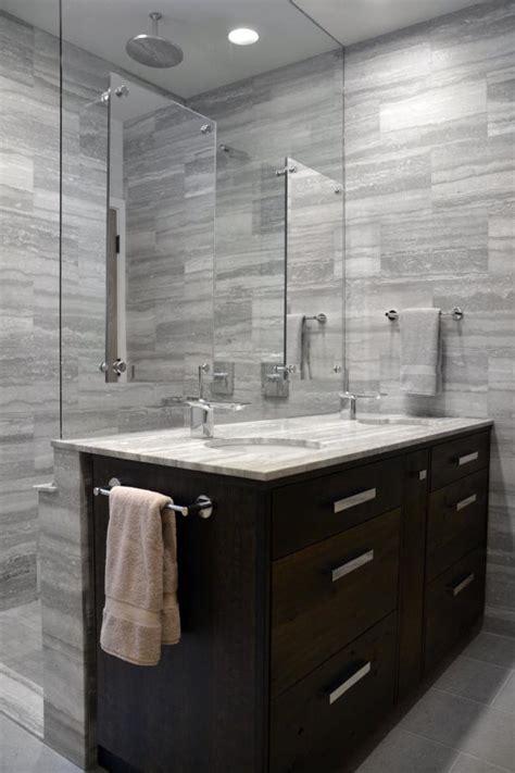glass shower wall  vanity backsplash  modern gray