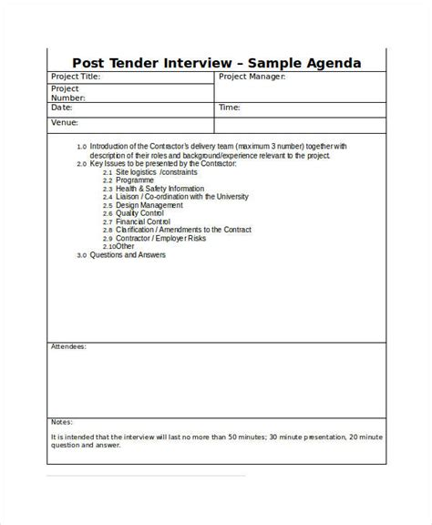 interview agenda examples samples