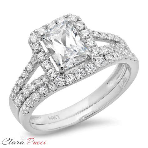 ct simulated emerald cut halo engagement bridal ring