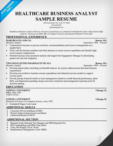 Health Analyst Resume healthcare business analyst resume exle http resumecompanion health career resume
