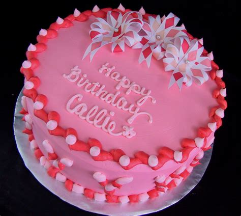 coral pink  ribbon flower birthday cake  twisted