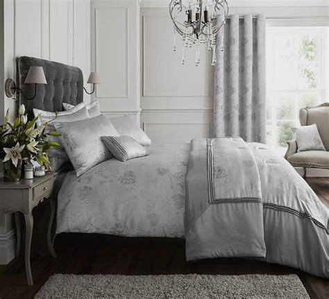 Silver  Grey Quilt Duvet Cover Bedding Bed Set Bed Linen