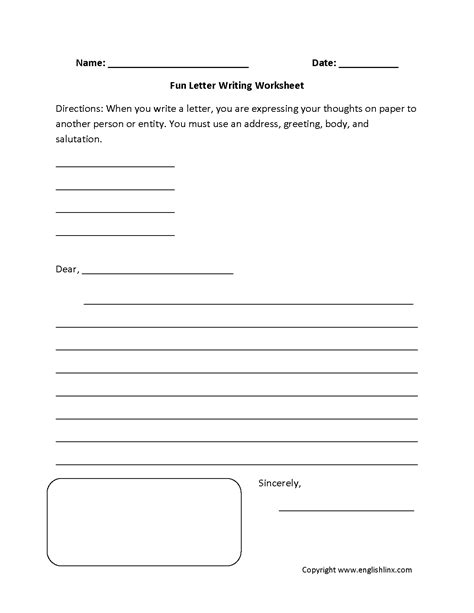 writing worksheets letter writing worksheets