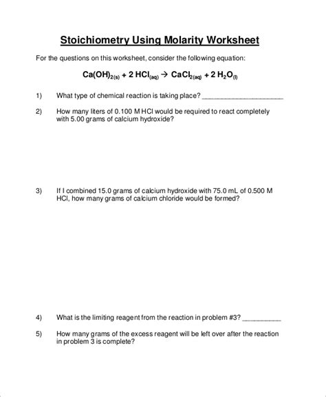 molarity stoichiometry worksheet 9 sle stoichiometry worksheets sle templates