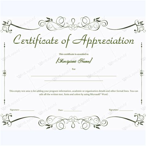 scholarship award certificate templates certificate of appreciation 04 word layouts