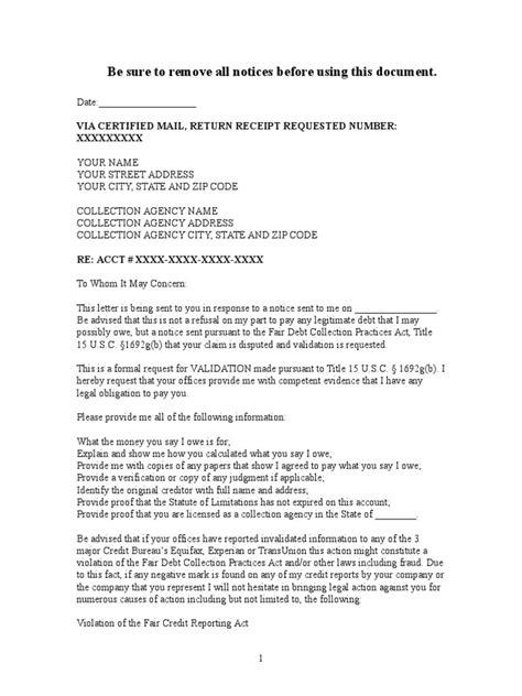 sample debt validation letter  collection agency