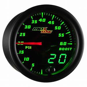 Glowshift Black  U0026 Green Maxtow 60 Psi Boost Gauge