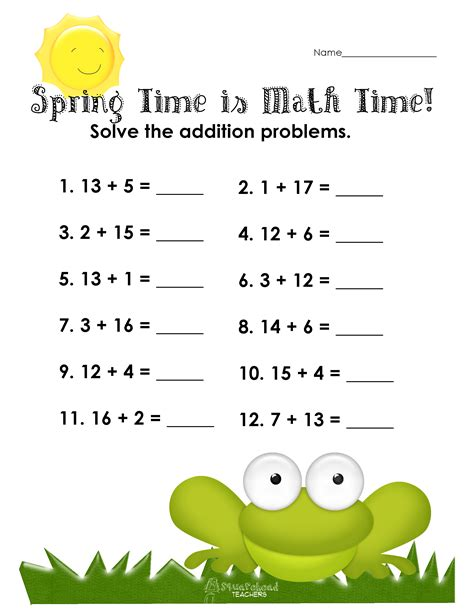 spring time means math time free addition worksheet