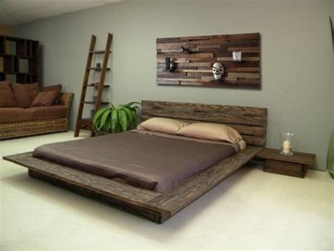 reclaimed wood bed headboard and stands rustic