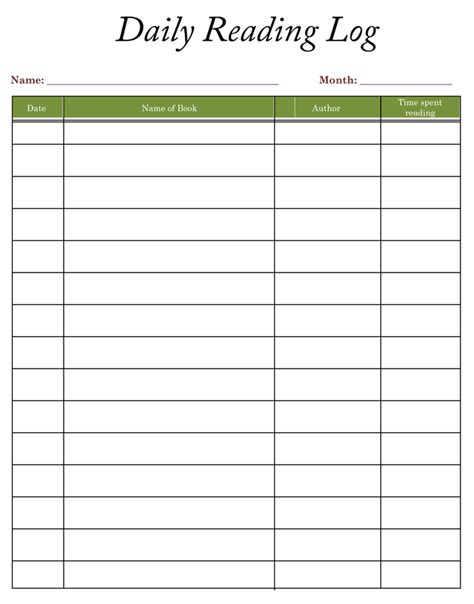 daily log template 8 reading log templates to keep your reading logs