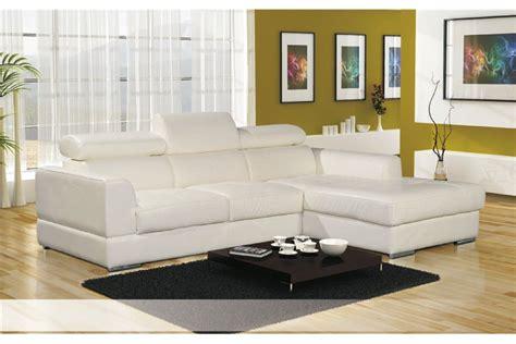 canapes d angle cuir canapé d 39 angle cuir pu avec têtières lena blanc noir