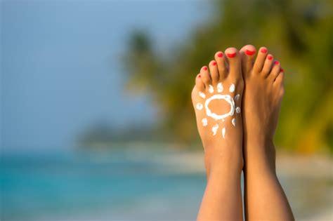 sunburn care dont forget   sunscreen   feet