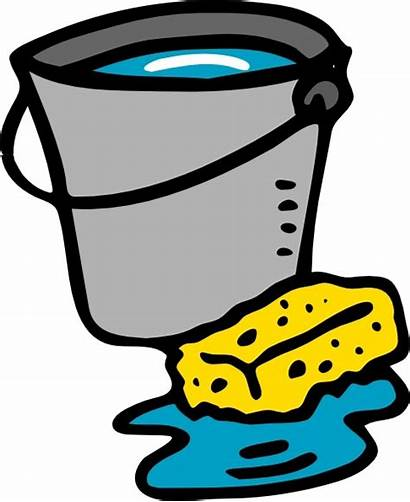 Bucket Cleaning Water Sponge Clip Drawing Vector