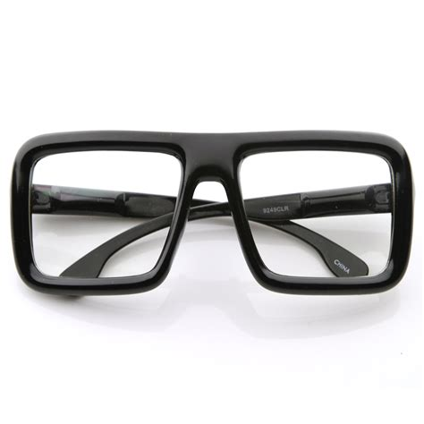 large retro bold thick square frame clear lens glasses