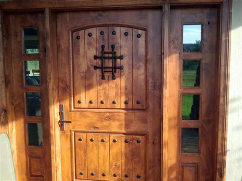 rustic front doors rustic exterior doors with sidelights knotty alder wood