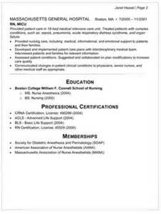 anesthetist cv template anesthesia resume exle