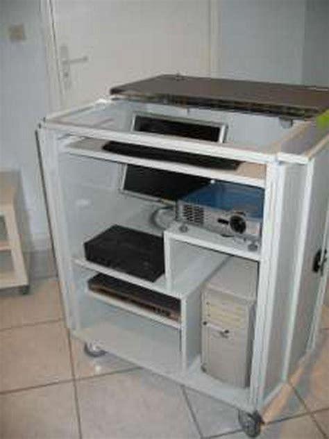 meuble bureau fermé avec tablette rabattable meuble informatique videocompact p2500hp