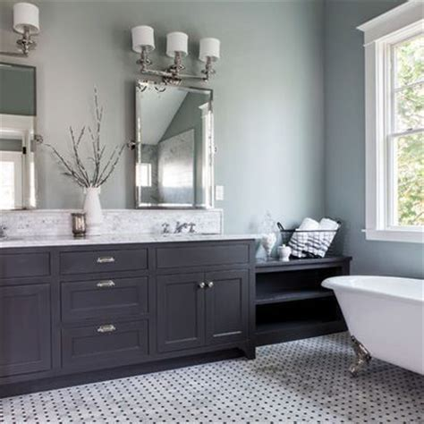 Painted Bathroom Pale Greyblue, Dark Grey Vanity For