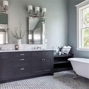 Painted bathroom pale grey blue dark grey vanity for for Blue and gray bathroom designs