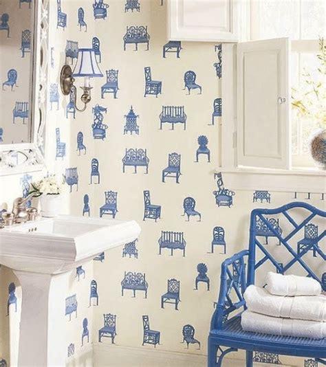 blue  white chair wallpaper reno bathroom pinterest
