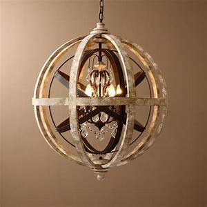 Retro rustic weathered wooden globe metal orb crystal