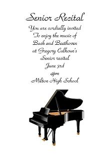 piano ballet  musical recital invitations