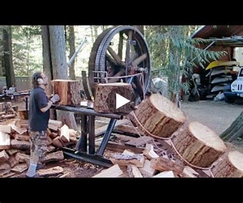 dangerous homemade automatic firewood processing