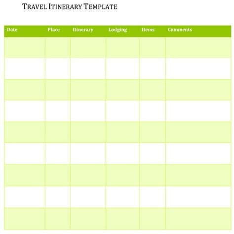 travel itinerary templates  excel  word