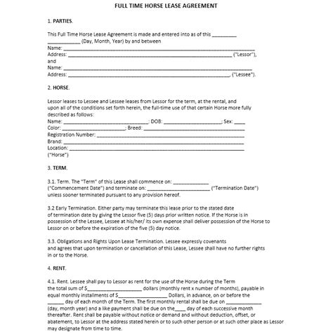 full time horse lease agreement printable