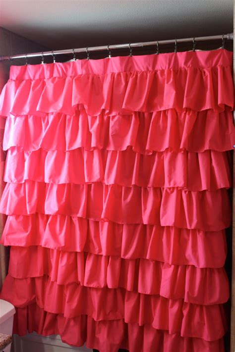 Pink Ruffle Curtains Panels by Ready To Ship Pink Ruffled Shower By Selahjameshandmade