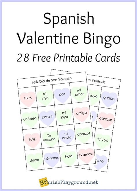 printable spanish bingo for valentine s day spanish