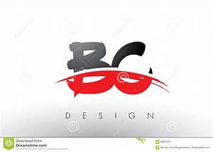 BC B C Brush Logo Letters With Red And Black Swoosh Brush ...