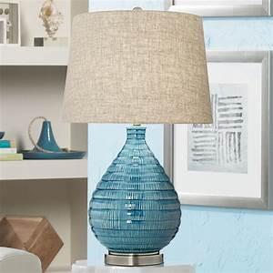 360, Lighting, Mid, Century, Modern, Table, Lamp, Textured, Ceramic, Sky, Blue, Glaze, Linen, Fabric, Tapered