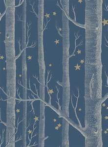 Papier Peint Bleu Foncé : papier peint woods and stars blanc sur bleu fonc de cole and son ~ Melissatoandfro.com Idées de Décoration