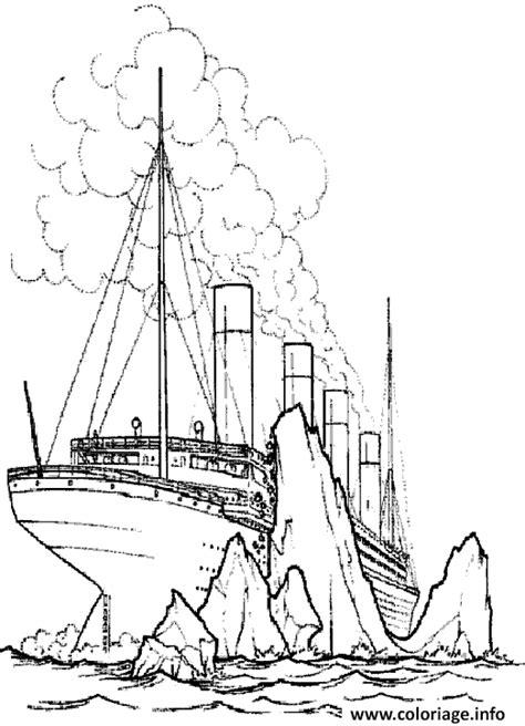 Dessin Bateau Trois Mats Facile by Coloriage Le Titanic Heurte Un Iceberg Jecolorie