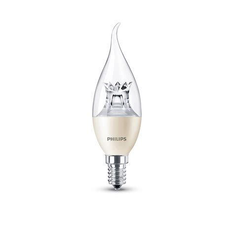philips e14 250lm led dimmable candle bent tip light bulb