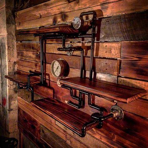 Hardwood Wall Shelves by Retro Industrial Rustic Hardwood Shelves Steunk Wall