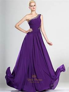 Purple One Shoulder Chiffon Prom Dress With Beaded ...
