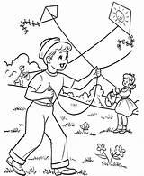 Coloring Kite Playing Printable Kites Flying Boy Spring Activities sketch template