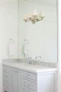 Bathroom Vanity Backsplash Images by Gray Glass Mosaic Tiled Backsplash Transitional Bathroom