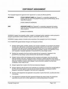 copyright assignment for software template sample form With copyright contract template free