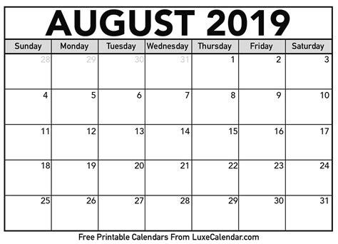 Blank August 2019 Printable Calendar