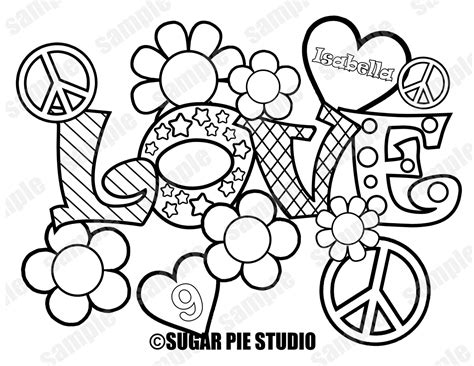 Peace And Love Coloring Pages - Democraciaejustica