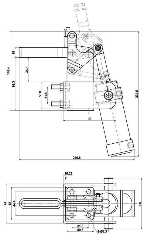 DST-20830-A Pneumatic clamp, vertical 3400N - DESETEC