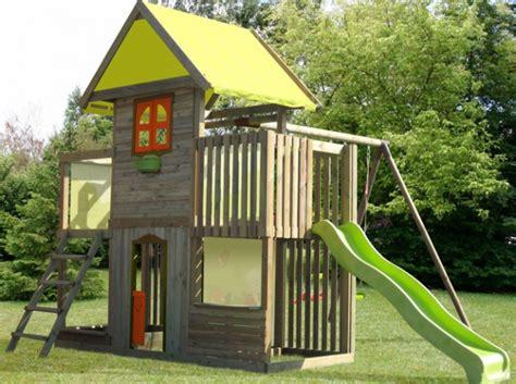 cabane de jardin enfant avec toboggan mes enfants  bebe