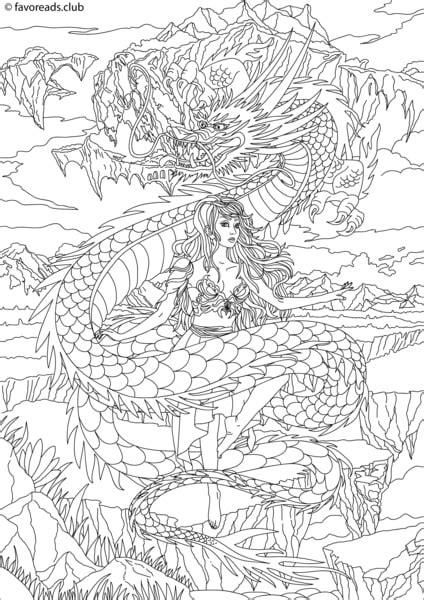 fantasia dragon and princess printable adult coloring
