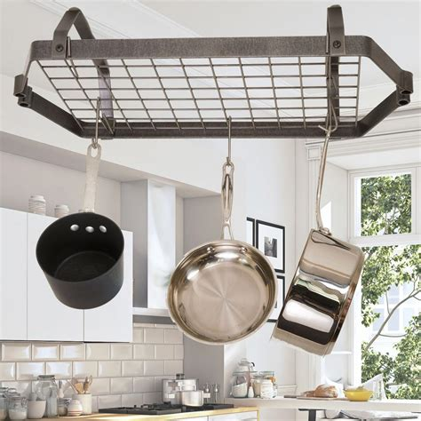 enclume decor hammered steel hanging  ceiling retro rectangle rack drlc hs  home depot
