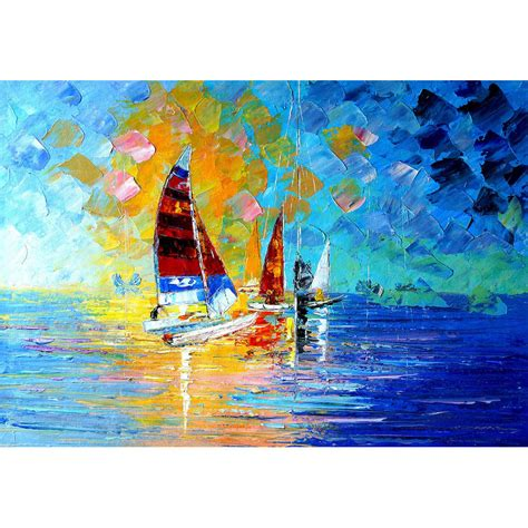 Sailboat Oil Painting by Knife Oil Painting Sailboat