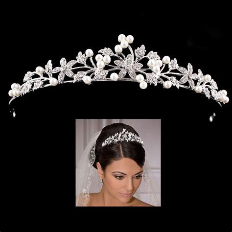Wedding Tiaras by Princess Wedding Bridal Prom Pearl Flower