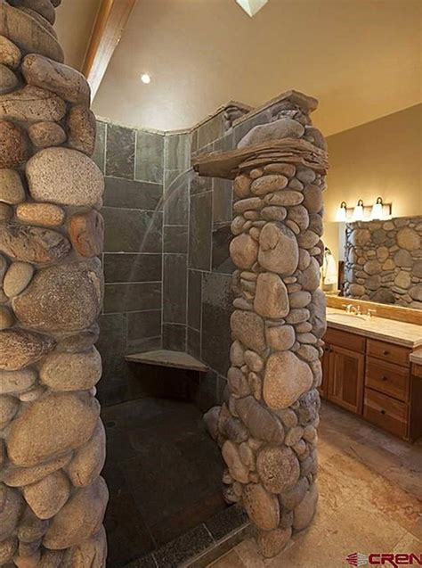 river rock shower  waterfall omg remodel bath